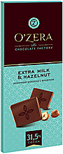 «OZera», шоколад молочный Extra milk & Hazelnut, 90г