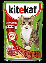 Влажный корм для кошек «Kitekat» Говядина в соусе, 85г