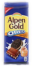 Шоколад «Alpen Gold» молочный Oreo со вкусом арахисовой пасты, 95г