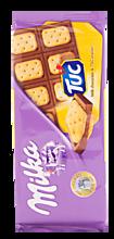 Шоколад молочный «Milka» с соленым крекером Tuc, 87г