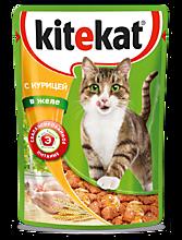 Влажный корм для кошек «Kitekat» c сочными кусочками курицы в желе,, 85г