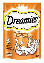 Лакомство для кошек «Dreamies» подушечки скурицей, 30г