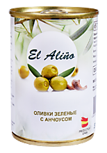 Оливки «EL alino» крупные с анчоусами, 290мл