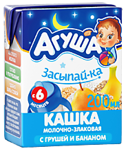 Каша молочно-злаковая «Агуша» Засыпай-ка с грушей и бананом, 200мл