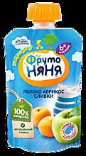 Пюре «ФрутоНяня» Яблоко, абрикос, сливки, 90г