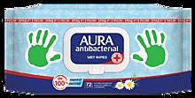 Влажные салфетки «Aura» антибактериальные, 72 шт
