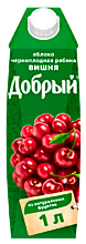 Сок «Добрый» Яблоко -Вишня-Черноплодная рябина, 1л