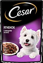 Влажный корм «Cesar» для взрослых собак, с ягненком и овощами в соусе, 85г