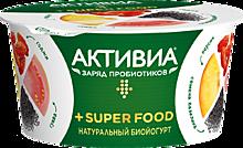 Йогурт «Активиа» Super Food с персиком, гуавой, ягодами годжи и семенами базилика, 140г