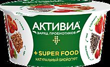 Йогурт «Активиа» Super Food с клубникой, земляникой, ягодами годжи, семенами льна и чиа, 140г