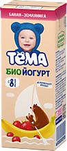 Биойогурт питьевой 2.8% «Тёма» Банан и земляника, 210г