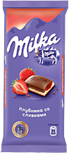 Шоколад молочный «Milka» Клубника-сливки, 90г