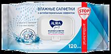 Влажные салфетки «Aura family» с антибактериальным эффектом, 120 штук