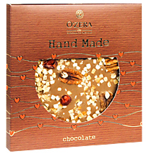 Молочный шоколад ручной работы «O'Zera Hand Made» с вишней, апельсином и орехом пекан, 150г