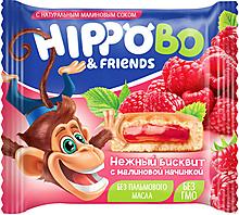 Бисквитное пирожное HIPPO BO & friends с малиновой начинкой, 32г