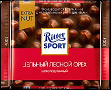 Шоколад темный «Ritter Sport» с лесным орехом, 100г