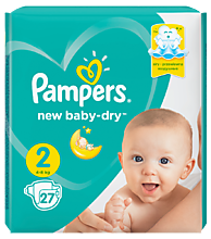 Подгузники «Pampers» new baby-dry, 4-8кг, 27штук