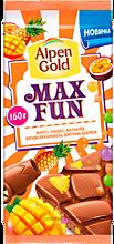 Шоколад «Alpen Gold» MaxFun манго-ананас-маракуйя-взрывная карамель-шипучие шарики, 150г