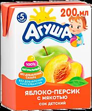 Сок «Агуша» яблоко-персик, с мякотью, 200мл
