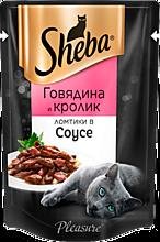 Влажный корм для кошек «Sheba» ломтики из говядины и кролика в соусе, 85г