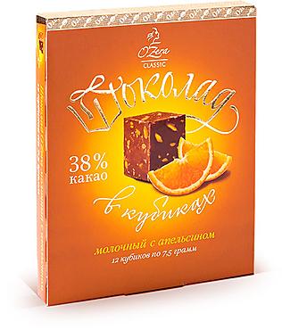 «OZera», шоколад молочный с апельсином, содержание какао 38%, 90г