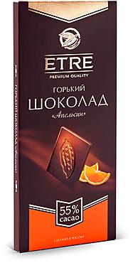 «ETRE», шоколад горький «Апельсин», содержание какао 55 %, 90г