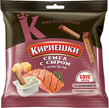 «Кириешки», сухарики со вкусом семги с сыром и соусом тар-тар, 85г