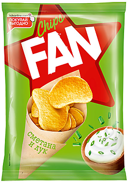 «Fan», чипсы со вкусом сметаны и лука, произведены из свежего картофеля, 22г
