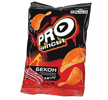 «PRO-Чипсы», чипсы со вкусом бекона, произведены из свежего картофеля, 60г
