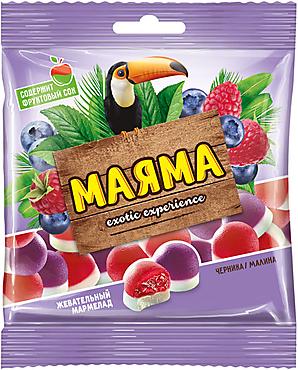 «Маяма», мармелад жевательный с желейной начинкой со вкусом черники и малины со сливками, 170г
