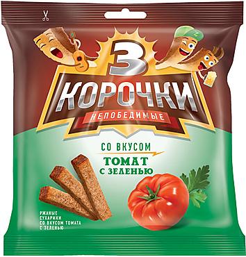 «3 Корочки», сухарики со вкусом томата и зелени, 100г