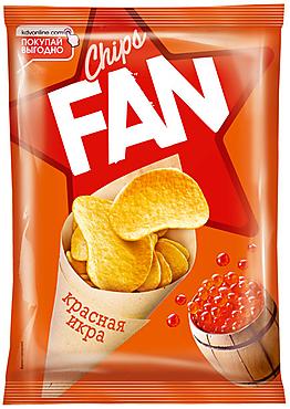 «Fan», чипсы со вкусом красной икры, произведены из свежего картофеля, 65г