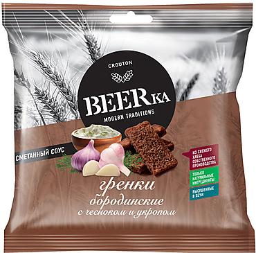 «Beerka», сухарики со вкусом чеснока с укропом и сметанным соусом, 85г