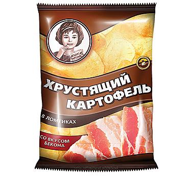«Хрустящий картофель», чипсы со вкусом бекона, произведены из свежего картофеля, 70г