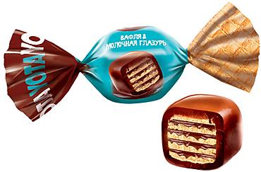 «Yota», вафельная конфета в молочно-шоколадной глазури. (коробка 0,7кг)