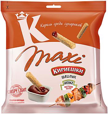 «Кириешки Maxi», сухарики со вкусом шашлыка и кетчупом «Heinz», 80г