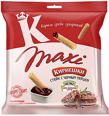 «Кириешки Maxi», сухарики со вкусом стейка с черным перцем и соусом барбекю, 80г