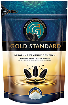 «Gold Standart», семечки крупные, жареные, солёные, 250г