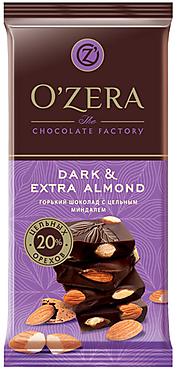 «OZera», шоколад горький с цельным миндалем Dark & Extra Almond, 90г
