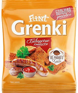 «Flint», гренки со вкусом баварских колбасок, 130г