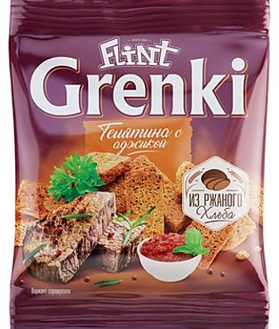 «Flint», гренки со вкусом телятины с аджикой, 80г