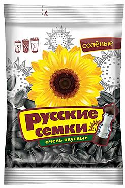 «Русские семечки», семечки отборные соленые, высший сорт, 190г
