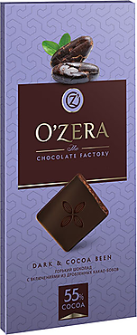 «OZera», шоколад горький с кусочками какао-бобов Dark & Cocoa bean, 100 г