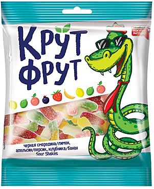 «КрутФрут», мармелад жевательный в форме забавных змеек в посыпке с легкой кислинкой, 70г