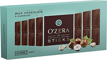 «OZera», шоколад молочный Milk & Hazel, в форме стиков, 240г