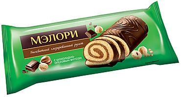 «Мэлори», рулет бисквитный шоколадно-ореховый, 200г