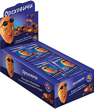 «Ореховичи», драже «Миндаль Иванович» в молочно-шоколадной глазури, 50г