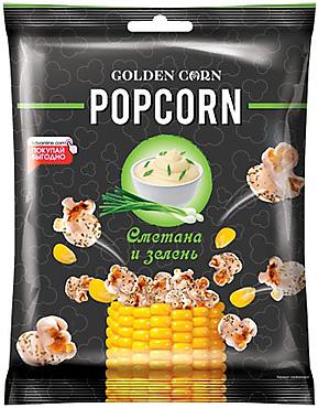 «Golden Corn», попкорн со вкусом сметаны с зеленью, 35г