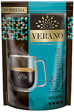 «Verano», кофе растворимый с добавлением молотого, 150г