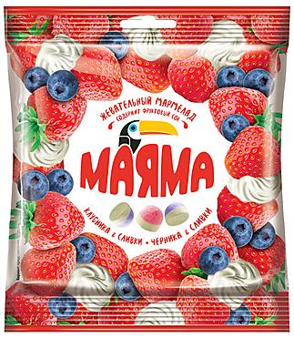 «Маяма», мармелад жевательный со вкусами клубники и черники со сливками, 70г